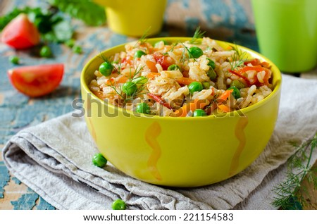 Pilaf with chicken and vegetables - stock photo