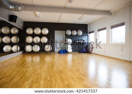 Pilate Balls In Gym - stock photo