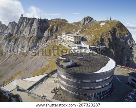 Pilatus Kulm station near the summit of Mount Pilatus on the border between the canton of Obwalden and Nidwalden in Central Switzerland. - stock photo