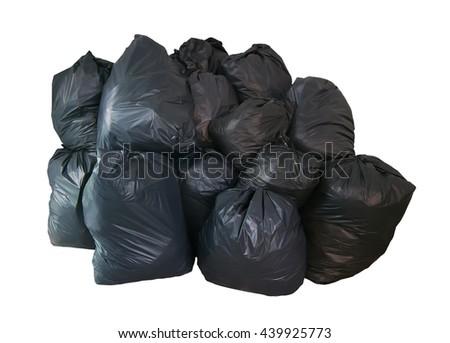 Pile black garbage bag isolated on white background - stock photo