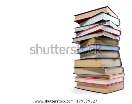 pile books isolated over white background - stock photo