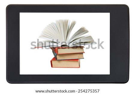 pile books on screen of e-book reader isolated on white background - stock photo
