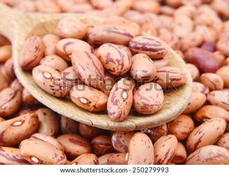 Pile Cranberry Bean isolated and wooden spoon on background . Cranberry beans are rounded with red specks.  - stock photo