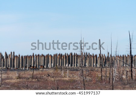 Pile field under development on the tundra home. The pile is installed in the permafrost. - stock photo