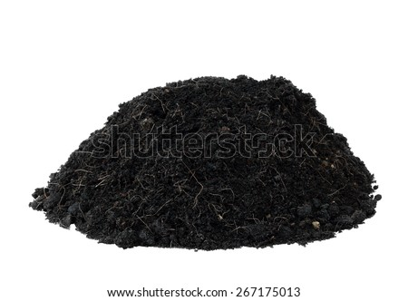 pile heap humus black soil for plant or design element isolated on white with work path - stock photo