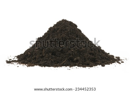 Pile heap of soil humus isolated on a white background. Stack of black earth. - stock photo