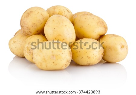 Pile new potato isolated on white background - stock photo
