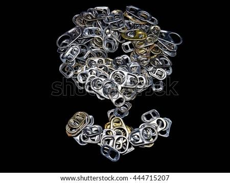 Pile of Aluminum Pop Tops on black background - stock photo