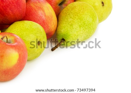 Pile of Apples and pears isolated on white - stock photo