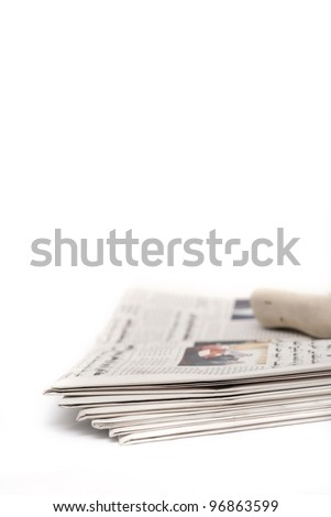 Pile of Arabic newspapers - stock photo