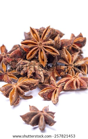 Pile of aromatic star anise. - stock photo