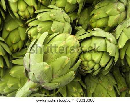 Pile of Artichoke on display at a farmers market in San Francisco, CA - stock photo