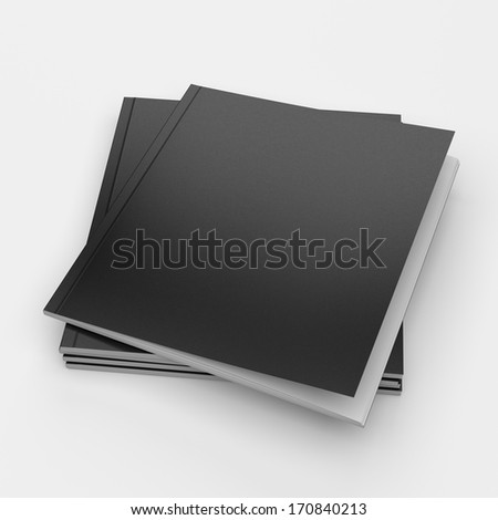 pile of blank black cover catalogs or brochures on white. Square format - stock photo