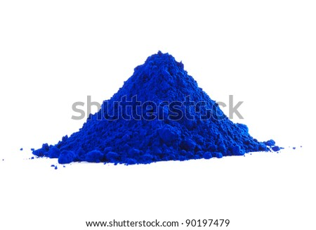Pile of blue powder isolated on white - stock photo