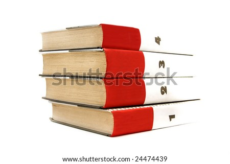 pile of books against the white background - stock photo