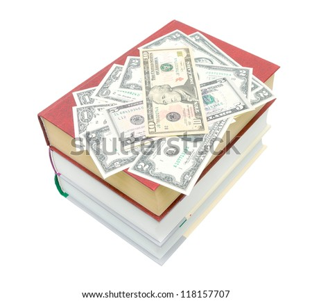 pile of books and money isolated on white background - top view - stock photo