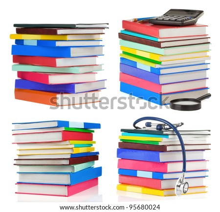 pile of books collage isolated on white background - stock photo