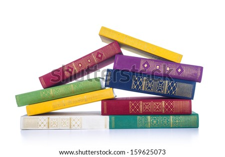 Pile of books isolated - stock photo