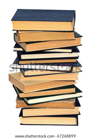 Pile of books isolated on white background - stock photo