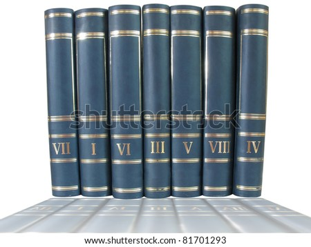 pile of books isolated over white background with reflections - stock photo