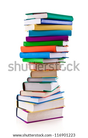 Pile of books on white background - stock photo