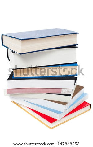 Pile of books over white background - stock photo