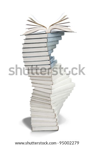 Pile Of Books shot in studio isolated on white - stock photo
