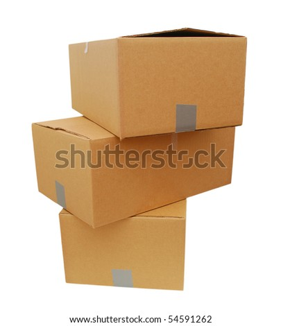 pile of boxes stacked - stock photo