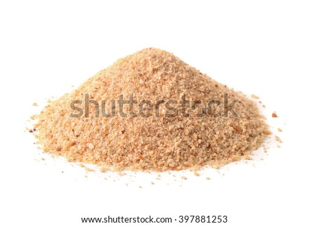 Pile of breadcrumbs isolated on white - stock photo
