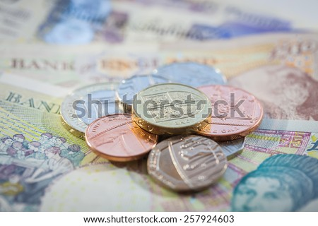 Pile of British Currency - stock photo