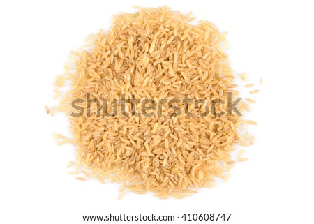 pile of brown rice isolated on white - stock photo