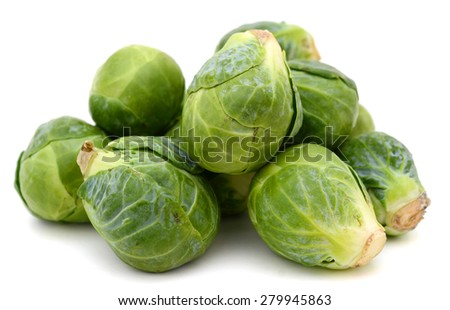 pile of brussel sprouts isolated on white  - stock photo