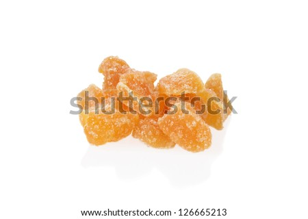 Pile of candied ginger shallow DOF - stock photo