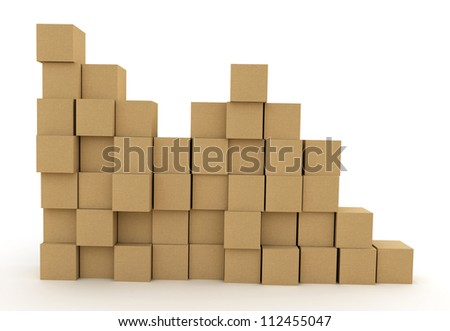 Pile of cardboard boxes over white background. 3d illustration - stock photo