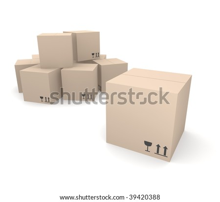 Pile of cardboard boxes with fragile and top icons, rendered in 3D - stock photo
