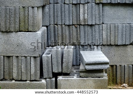 pile of cement block - stock photo