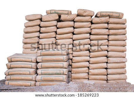 Pile of Cement in bags,neatly stacked for a construction project  - stock photo