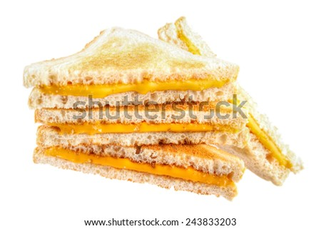 Pile of cheese toast sandwiches , isolated on white - stock photo