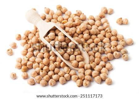 Pile of chickpea seed isolated on white background - stock photo