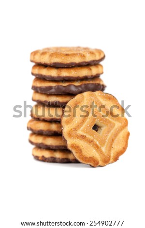 Pile of chocolate chip cookies - stock photo