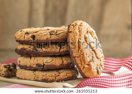Pile of chocolate cookies, close up - stock photo