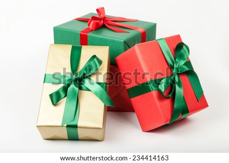 pile of christmas presents isolated - stock photo