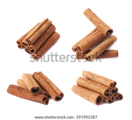 Pile of cinnamon sticks isolated over the white background, set of four different foreshortenings - stock photo