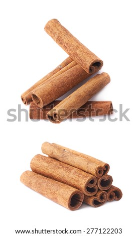 Pile of cinnamon sticks isolated over the white background, set of two different foreshortenings - stock photo