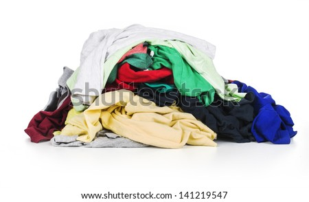 pile of clothing isolated on white - stock photo
