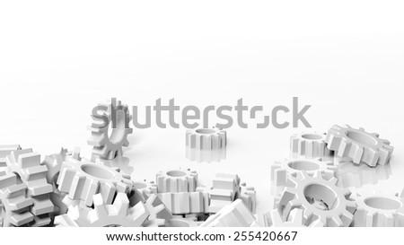 Pile of cogwheels isolated on white background - stock photo