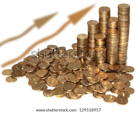 Pile of coins and Coin pyramid - stock photo