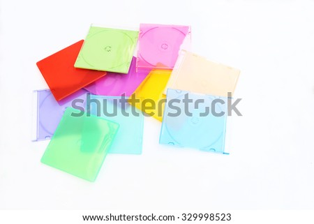 pile of color cd case on white background - stock photo