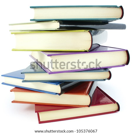 pile of color hardcover books over white background - stock photo