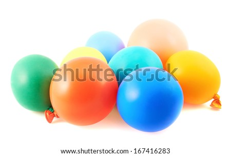 Pile of colorful balloons isolated over white background - stock photo